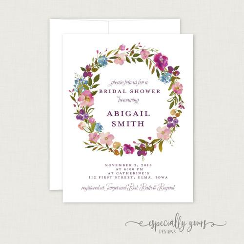 Spring Purple & Pink Floral Wreath  Bridal Shower Invitation
