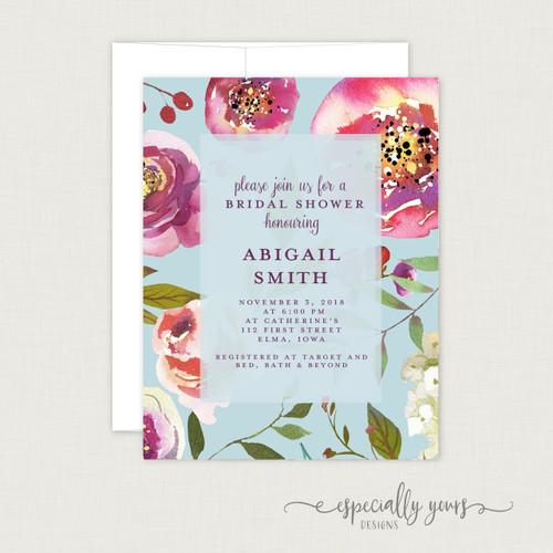 Blue & Pink Spring Florals Bridal Shower Invitation