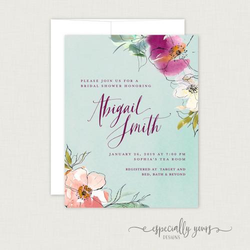 Aqua Spring Florals Bridal Shower Invitation