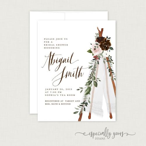 Boho Teepee Florals Bridal Shower Invitation