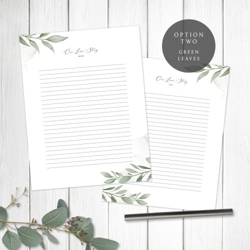 Green Leaves Wedding Book Pages