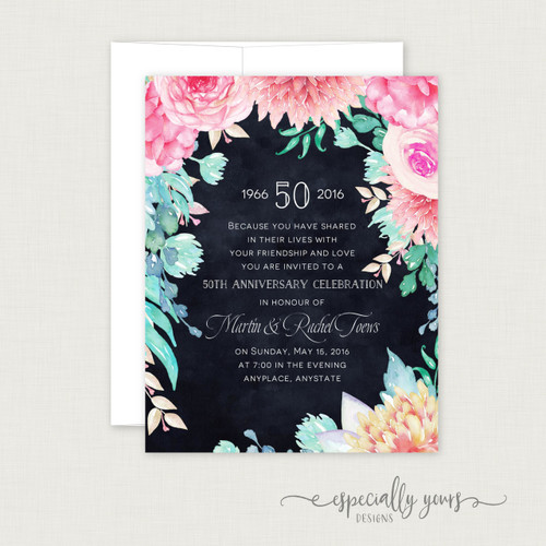 Pink & Navy Floral Wedding Anniversary Celebration Invitations