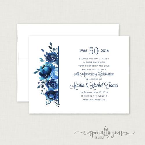 Blue Floral Wedding Anniversary Celebration Invitations