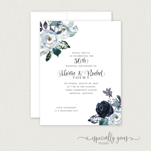 Navy Watercolor Floral Wedding Anniversary Celebration Invitations