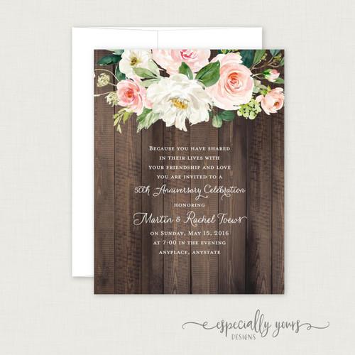 Cream & Blush Floral on Wood Wedding Anniversary Celebration Invitations