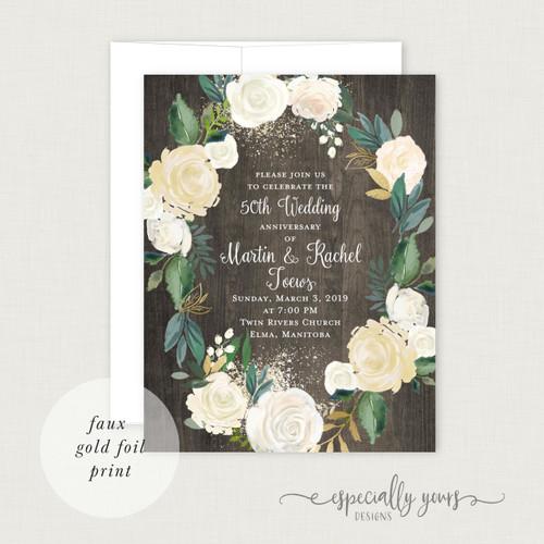 Cream & Gold Floral on Wood Wedding Anniversary Celebration Invitations