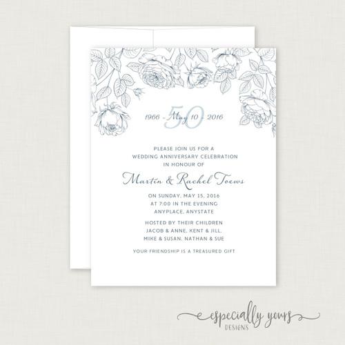Light Navy Roses Wedding Anniversary Celebration Invitations
