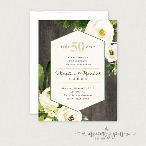 Cream Floral on Wood Wedding Anniversary Celebration Invitations