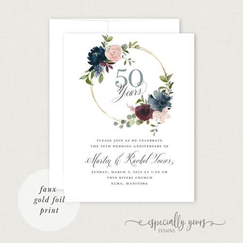 Burgundy Navy & Blush Florals Wedding Anniversary Celebration Invitations