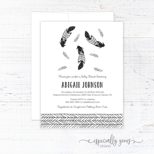 Tribal Feathers Baby Shower Invitation