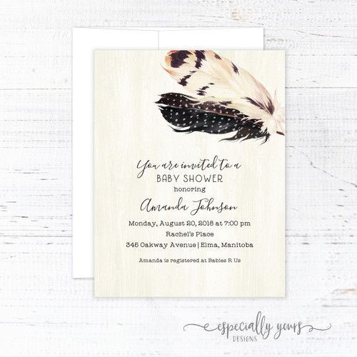 Watercolor Feathers Baby Shower Invitation