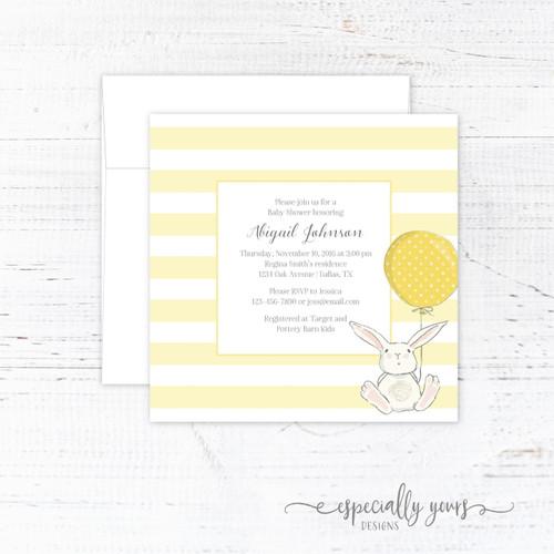 Yellow Bunny Baby Shower Invitation