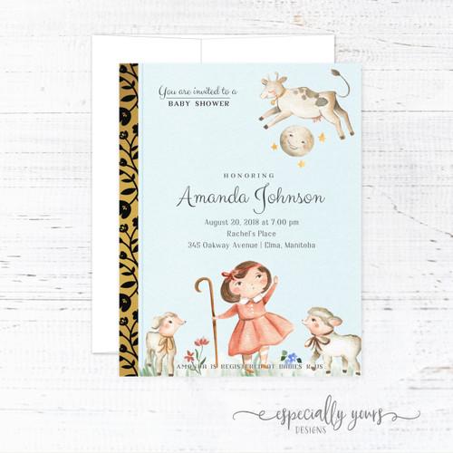 Nursery Rhyme Golden Book Baby Shower Invitation