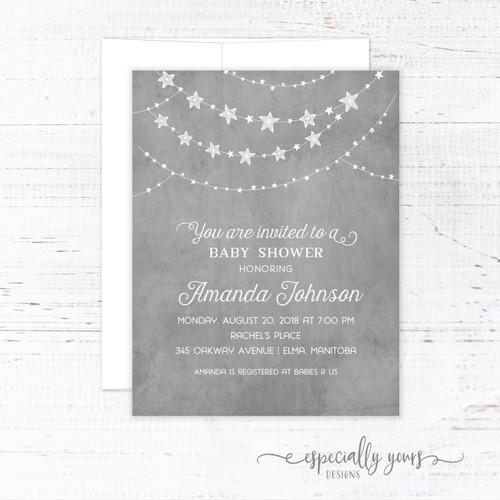 Grey & White Stars Baby Shower Invitation