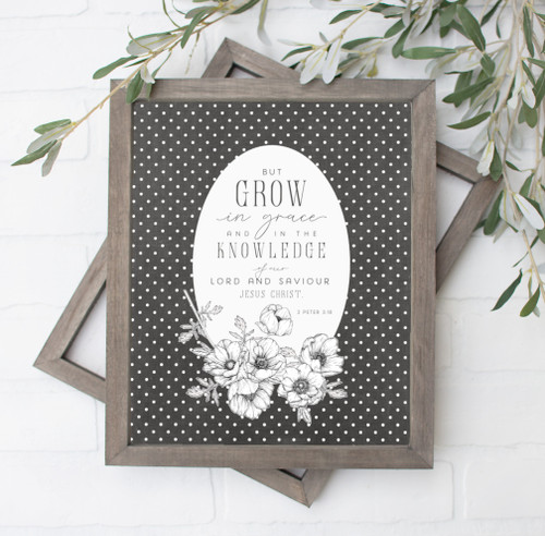Grow in Grace Vintage Black and White Floral Art Print