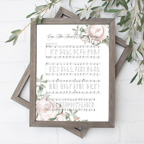 Come Thou Fount of Every Blessing Song Floral Art Print