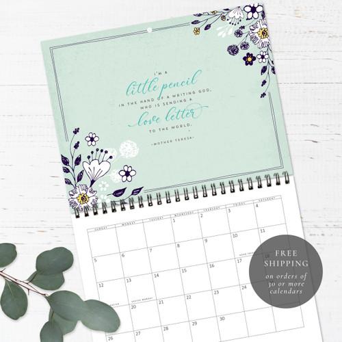 Whimsical Florals Birthday Calendar   Congregational or Family Birthday Calendar