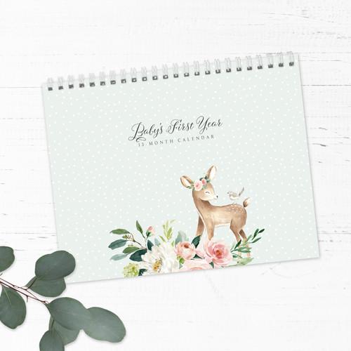 Pink Floral & Deer First Year Baby Calendar