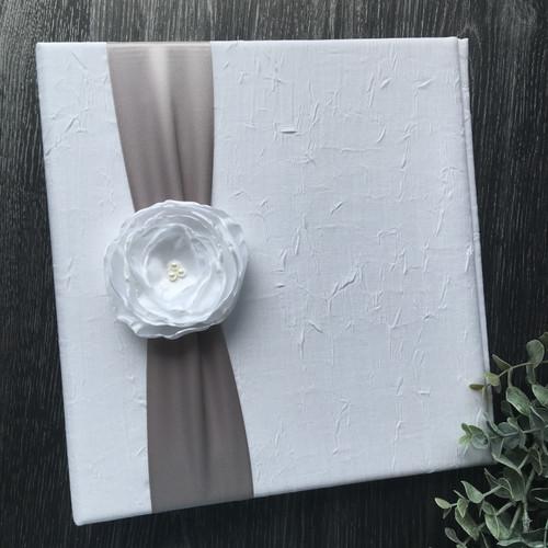 White Crinkle & Grey Wedding Book