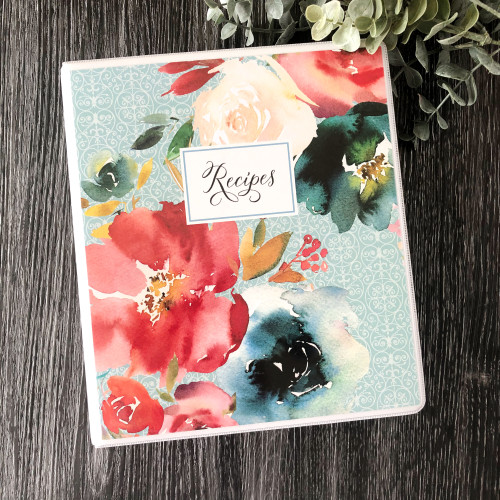 Red and Teal Floral Recipe Binder Book