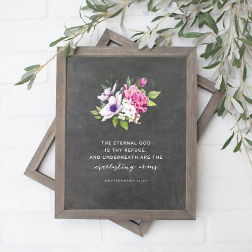 The Eternal God is Thy Refuge Chalkboard Floral Art Print
