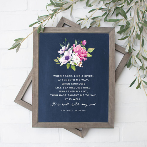 It Is Well With My Soul Navy Texture Floral Art Print