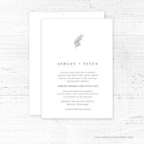 Simple Leaf Wedding Invitation