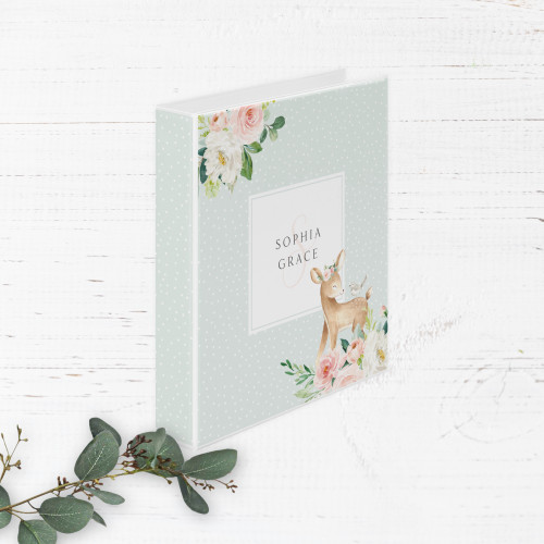 Pink Floral Deer Baby Book   Binder Style