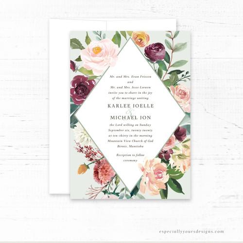 Floral Diamond  Wedding Invitation