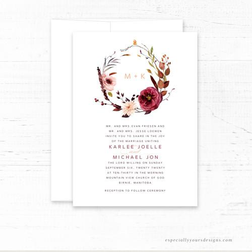 Fall Floral Wreath  Wedding Invitation