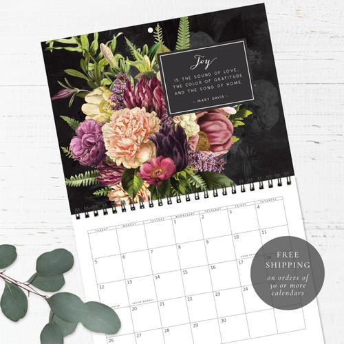 Dramatic Florals Birthday Calendar   Congregational or Family Birthday Calendar