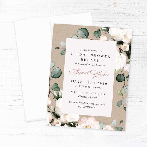 Kraft Soft Florals Bridal Shower Invitation