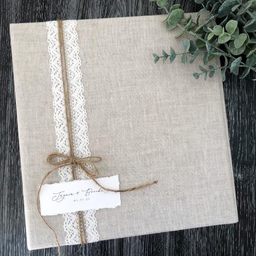 Natural Linen Lace & Jute Wedding Book | 100% Linen Fabric