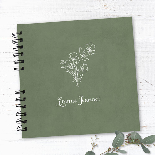 Green & White Floral Wire Bound Baby Book