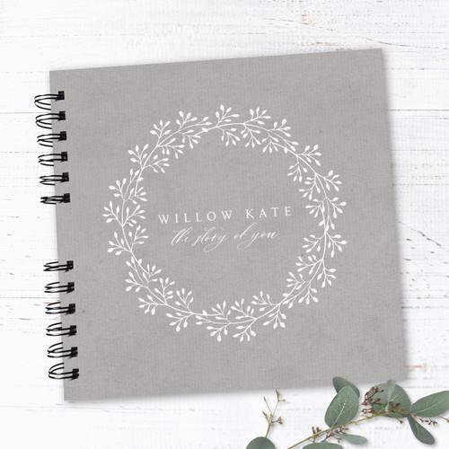 Grey & Cream Wreath Wire Bound Baby Book