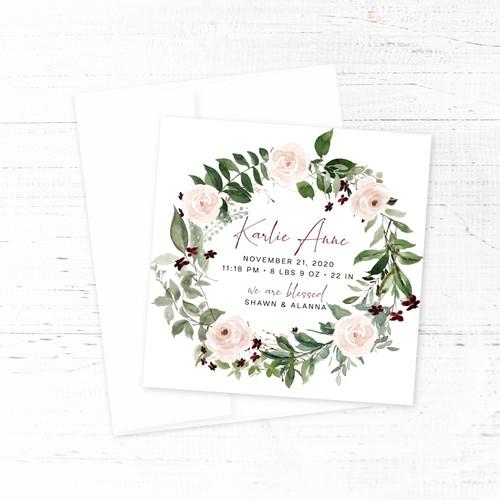 Blush & Burgundy Floral Wreath Birth Announcement