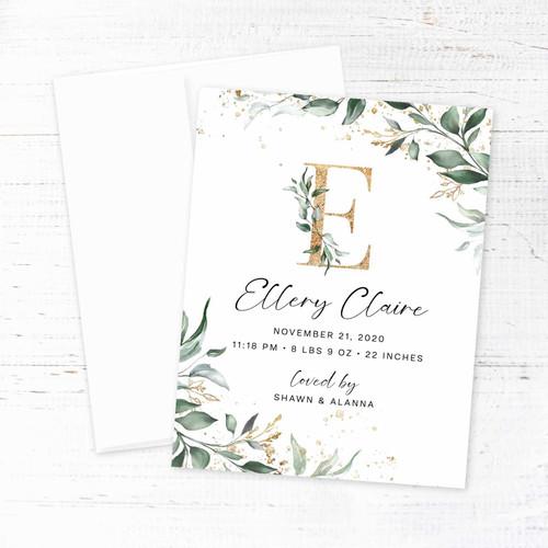 Greenery & Faux Gold Wreath Birth Announcement