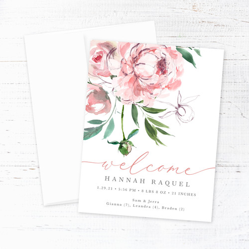Pink  Watercolor Floral Birth Announcement