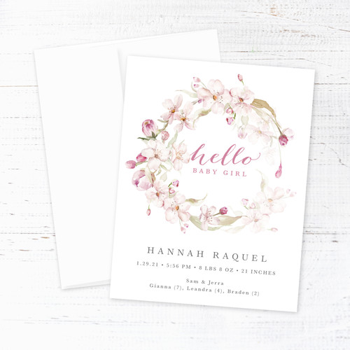 Cherry Blossom Wreath Birth Announcement