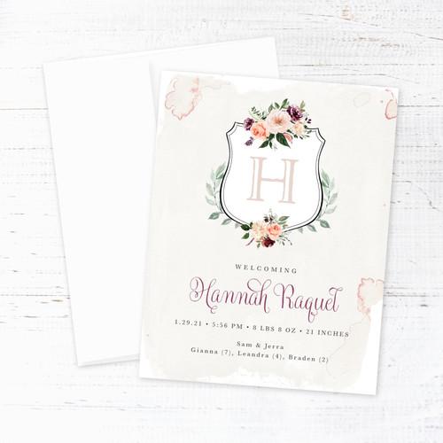 Floral Monogram Crest Birth Announcement