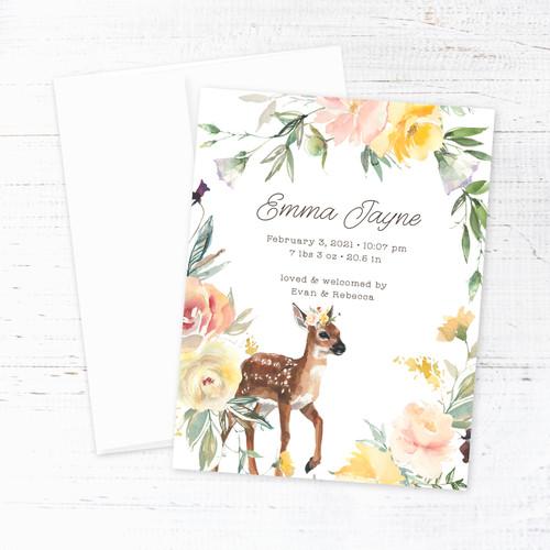 Spring Baby Deer Birth Announcement