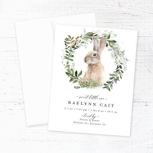 Rabbit in Wreath Birth Announcement