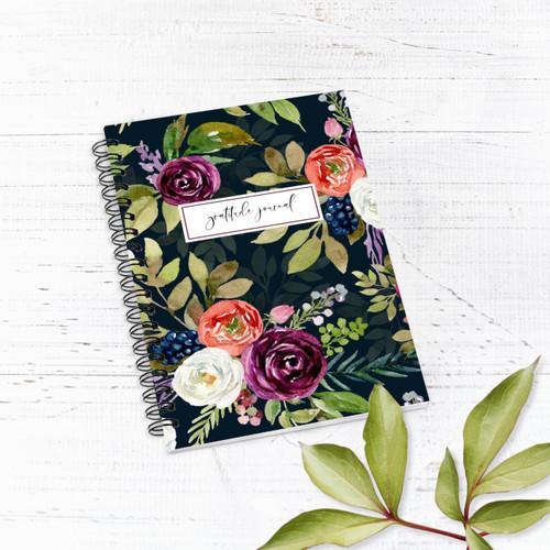 Florals on Black Gratitude Journal