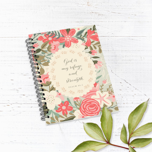 Bright Pink Coral Florals Lined Notebook/Journal