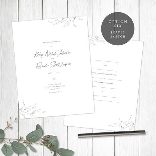 Leaves Sketch Wedding Book Pages