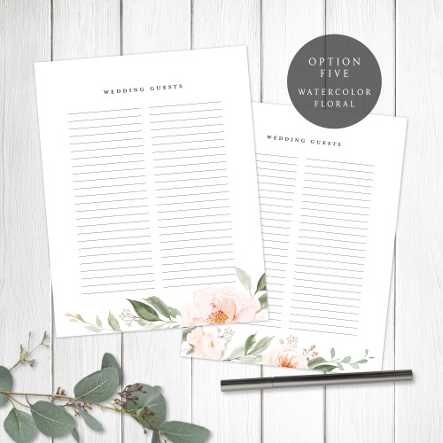 Watercolor Floral Wedding Book Pages