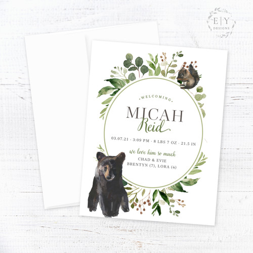 Baby Bear & Squirrel Birth Announcement