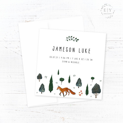 Fox in the Trees Birth Announcement