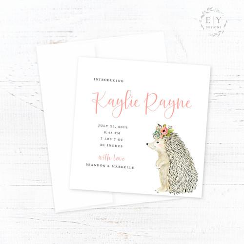 Floral Hedgehog Birth Announcement