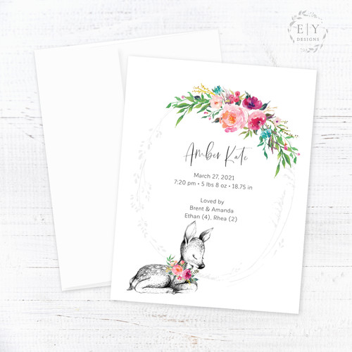 Baby Deer & Floral Wreath Birth Announcement